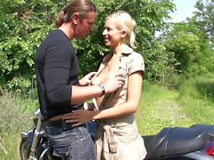 MyFirstPublic - Muscle big biker fuck that blonde bitch hard and cum on her