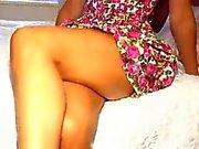 adorable blonde girl showing panties