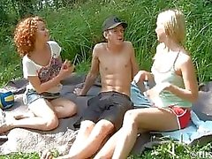 Volleyball Vixens Give Outdoors Threesome Blowjob