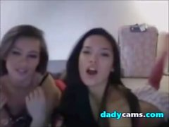 Two hot lesbian teens kissing and undressing on webcam