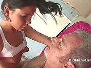 Innocent skinny brunette rides on cock