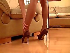 Pussy is sexy through tan pantyhose