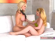 Busty lesbian MILF pussy toyed with cucumber