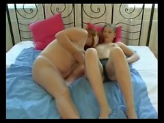 GF with Fat Chubby Tummy playing with her Lesbian friend-P1