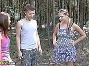 Two sexy girls in hot outdoor fuck
