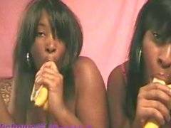 Black teen girls shake it and suck on bananas