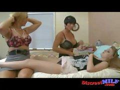 Two lesbian MILFs seduce teen girl