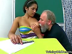 Perverted old man fondles his student