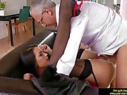 Young euro slut pleases an old man