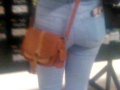 Halloween store teen in tight pants!