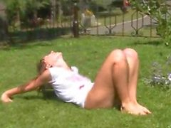 Nude latvian yoga in the park
