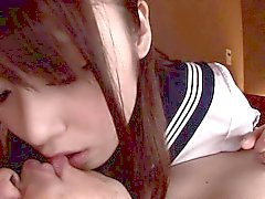 Cute cocksucking asian schoolgirl facialized