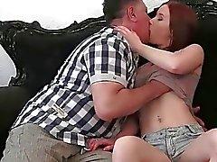 Young redhead enjoying hot sex with grandpa