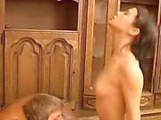 Teen beauty gets strong orgasm from bounding on cock.