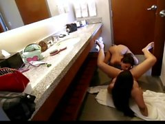 Two lesbians amateur fucking in the bathroom