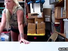 Shoplyfter is moaning as she gets her wet pussy fuck