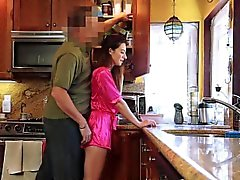 DadCrush Petite Step-Daughter Fucked In Kitchen