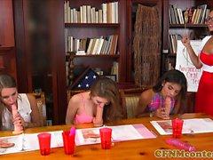 CFNM teacher orgy with teens during sex class
