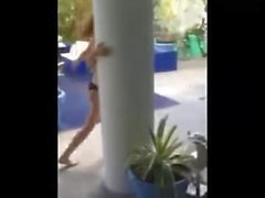 Bella Thorne in teeny black thong bikini
