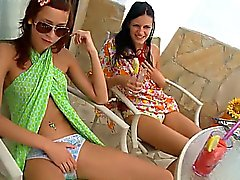 Two girls undressing snatches together