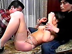 Hot young asian takes two cocks in her mouth on her knees then fucks
