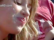 Beautiful young girl smoke dick in car