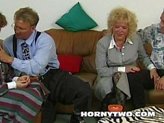 Old n young threesome with two grannies fucking young lad