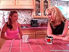 Sexy blonde MILF seduces hot teen slut