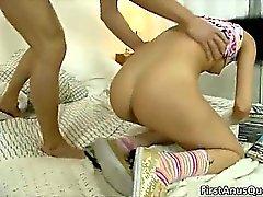 Horny slutty brunette chick Katy takes