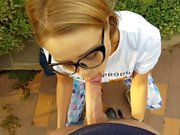 step brother cums on step sister's pretty face in yoga pants & she swallow