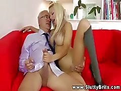 Young blonde spoiling an old man