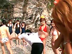 Cute asian babes get horny showing off