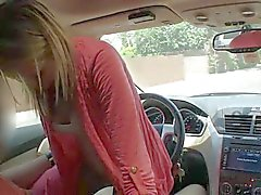 Hot blonde Jennie rides hard rod in the car