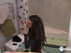 Teenie take a hot bath and gets spy