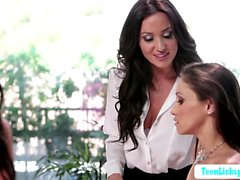 Claire and Celeste and Angela threesome lesbi sex