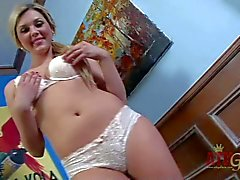 Shaved Teen Chloe Lynn takes off her white underwear and masturbates