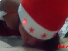 Christmas xmas porno deepthroat throatpie video from Thai teen Heather Deep