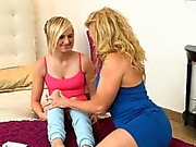 Stepmom helps teen to relieve tension and makes her orgasm