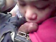 Filipina teen blowjob in car beside police van