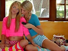 Stunning young blonde lesbians make love to each other
