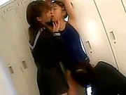 Japanese schoolgirls enjoy lesbian kissing in School