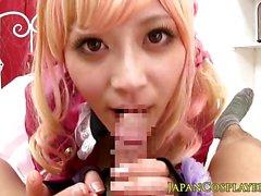 Teen cosplay Miki Sunohara ducking cock