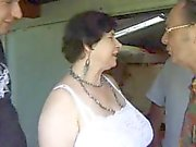French BBW granny sucks coks outdoor