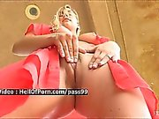 Amazing blonde playing