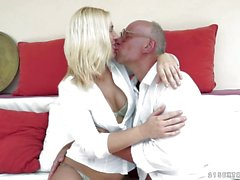 Linda Ray slurps on an old mans cock then he pounds her tight pussy hard