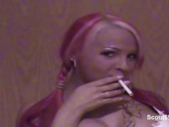 Hottest German Redhead Teen Homemade Smoking Blowjob
