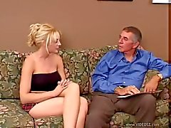 Old dude eats and fucks young blonde