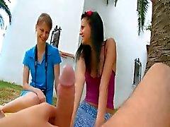 Two girlfriends Beata and Mia gag me