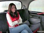Nasty taxi driver spanks a curvy teen