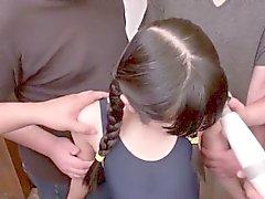 Japanese bukkake teen toyed by many pervs